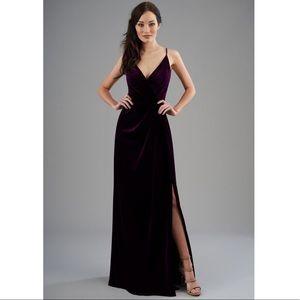 Jasmine Bridal B2 Velvet Plum Bridesmaid Dress
